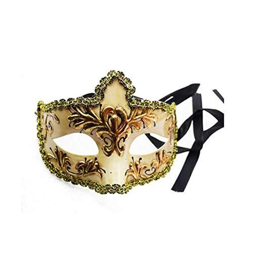 ZHANGXLAA Handgemachte Italienische Venezianische Maske Party Ball Party Prinz Prinz Retro Maske Männliche Maske Party Geburtstagsparty,Pink (Venezianische Masken Männliche)