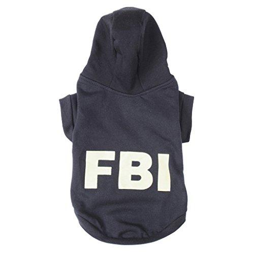 Fashion FBI Hundekatze-Welpen Cotton Warm-Mantel-Kost¨¹m-Kleidung Haustier-, M Schwarz