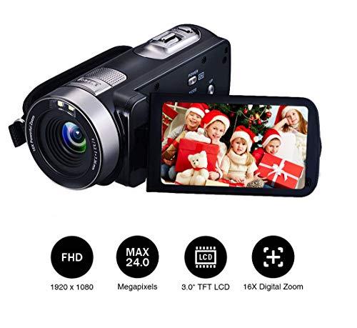 Camcorder Videokamera Full HD 1080p 16x Digitalzoom 24.0MP Webcam 3 Zoll Bildschirm HDMI-Ausgang mit Fernbedienung