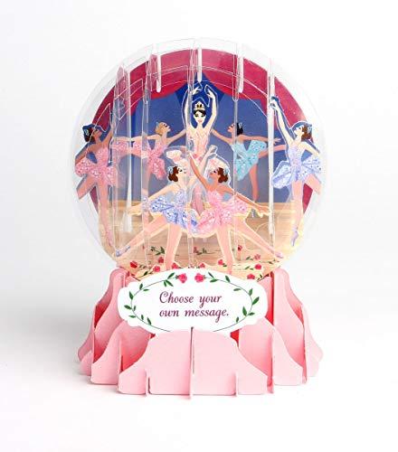 Schneekugel Karte Geburtstag Grußkarte PopShot Ballerina 9x13cm