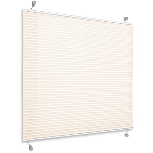 Plissee Rollo Magic | moderner Sichtschutz mit Crushed Optik | Fensterrollo mit Klemmfix ohne Bohren | Klemmrollo in verschiedenen Farben und Größen (Creme Weiß - 110 cm breit und 100 cm lang)