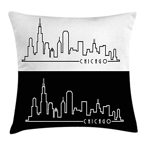 (Chicago Skyline Throw Pillow Cushion Cover, Minimalist Style Urban Plan View City Chart Sketch American Abstract, Decorative Square Accent Pillow Case, 18 X 18 inches, Black and White)