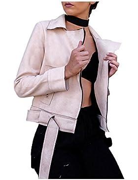 Simplee Apparel Women 's Suede Zip up Faux Leather Biker Jacket Crop abrigo gris