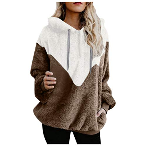 iHENGH Damen Herbst Winter Bequem Lässig Mode Jacke Frauen Kapuzen Sweatshirt Mantel Winter Warme Wolle Reißverschlusstaschen Baumwollmantel Outwear
