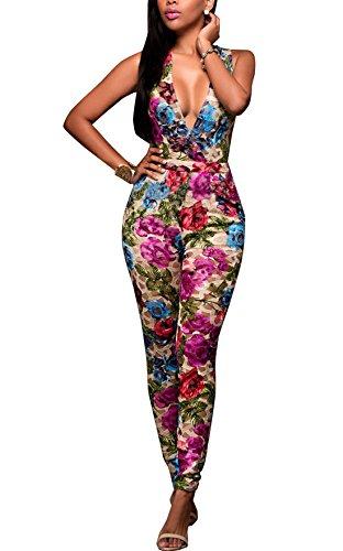 Aisuper Damen Slim Jumpsuit Mehrfarbig
