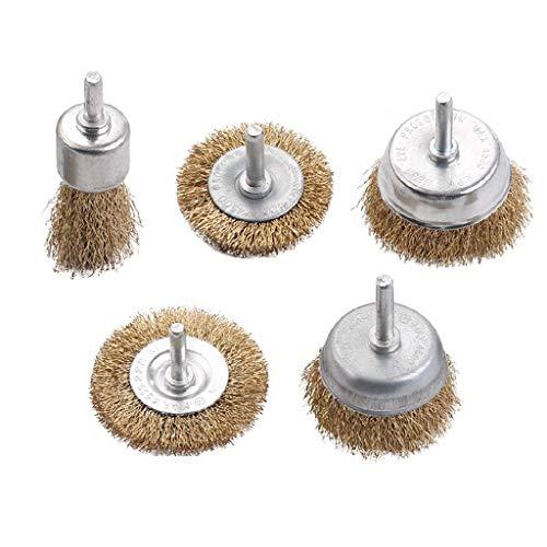 Happy event - Set di 5 spazzole in Filo Metallico Rivestito in Ottone, per Rimuovere ruggine, corrosione e Colore