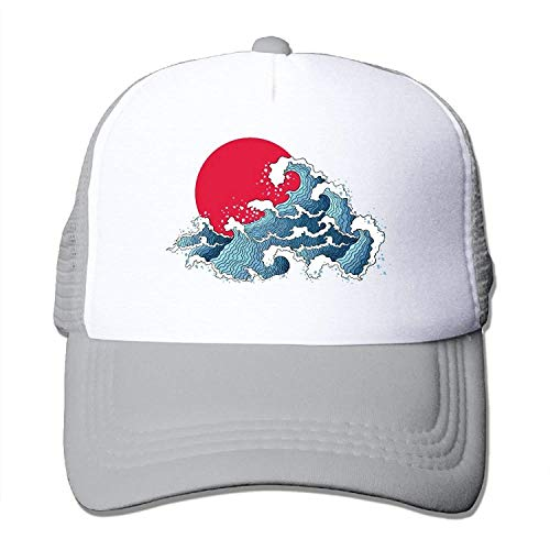 Asian of Ocean Waves and Sun Fashion Baseball Cap forAdjustable Mesh Trucker Hat