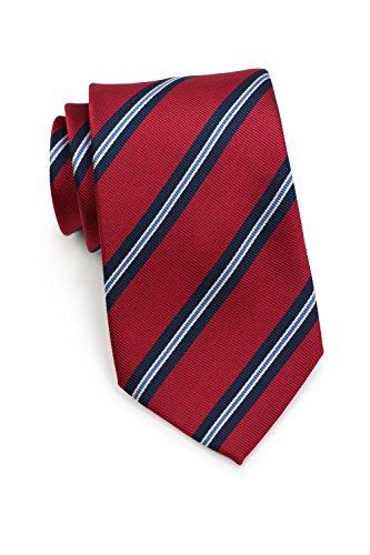PARSLEY Herrenkrawatte, Klassische rote Regiments-Krawatte, Rippstruktur, gestreift, Seidenkrawatte, 8,5 cm, Handarbeit, Business Tie (Rot / Blau) (Streifen-krawatte Britische)