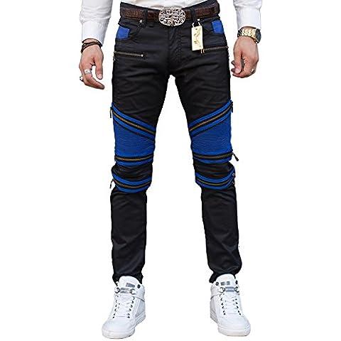 Pista recta Biker Jeans pantalones clásico Slim pantalones de mezclilla de los hombres