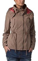 Sublevel Damen kurze Übergangs Jacke Trenchcoat Parka Style Kapuze dark beige M