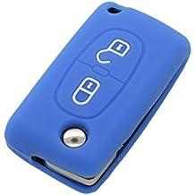 E-Senior Moda de Silicona Remoto Flip FOB / Funda de silicona con 2 abotonan el caso de Shell dominante de la viruta de goma para Peugeot 206 307 407 308 607 FOB el silicón colorido protegen la cubierta CV3302 (Deep Blue)