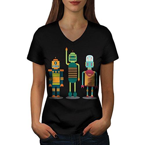 karikatur-roboter-party-kind-spass-damen-neu-schwarz-xxl-t-shirt-wellcoda