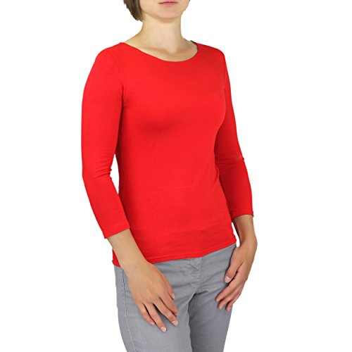 Damen 3/4 Arm Shirt Longsleeve Basic Shirt Rundhals Stretch-Viskose Bunte Farben / Gr. 32 bis 50 Rot