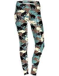 KUDALL Medias Leggings Gimnasio Pantalones De Yoga Deportes Elásticos Slim Leggings Blanco Y Negro Verde Lindo Gato Personalidad…