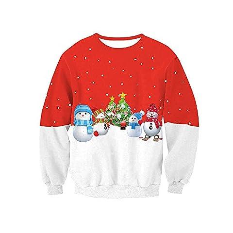 Damen Pullover Blumen Niedlich Weihnachten Schneemann Bekleidung Loveso Herbst Winter Warm Frauen Sweatshirt Cute Christmas Snowman Streetwear (38 (L), Rot)