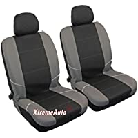 XtremeAuto® Universal Fit Front Pair Of Car Seat Covers BLACK GREY