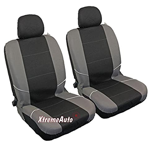 XtremeAuto® Universal Fit Front Pair Of Car Seat Covers BLACK