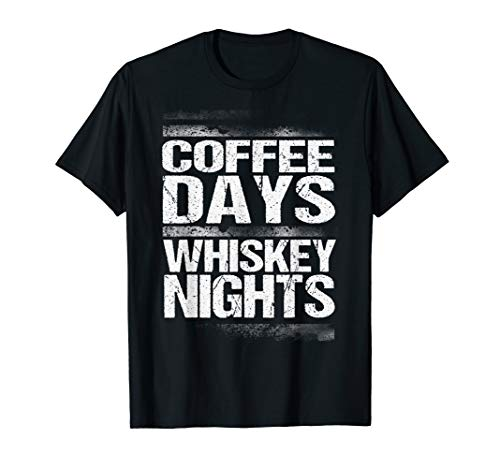 Coffee Days Whiskey Nights I T-Shirt für Bourbon Fans - Braun Schwarz Karaffe