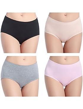Wirarpa Bragas de Algodon Mujer Pack de 4 Braguitas Culottes Cómodo Pantalones M-XL