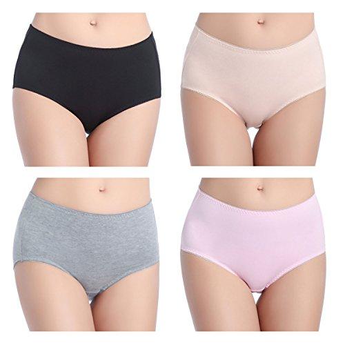 Wirarpa culotte cotone donna pacco da 4 culotte mutande comode slip donne midi
