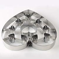 Wenquan,Molde de Galletas de Acero Inoxidable Herramienta para Hornear de Molde de Galletas en Forma de corazón Grande DIY(Color:Plata)