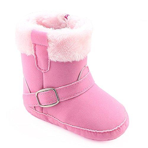 LCLrute Qualität Kleinkind Neugeborenen Jungen Mädchen Krippe Winterstiefel Prewalker Warm Martin Schuhe (11, Rosa) (Stripe Bar Socke)