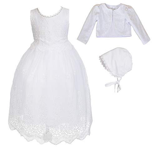 Cinda Baby-weißes Spitze-Taufkleid und Mütze Mit Bolero 74-80 -