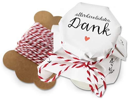 25 Marmeladendeckchen Mini - allerherzlichsten Dank ♥ | Gläserdeckchen Weiß mit Blumen für Marmelade, kleine Marmeladengläser & Einmachgläser | Recyclingpapier Abreißblock + 10 m Garn + Justiergummi