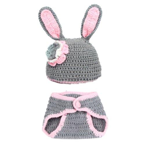 EOZY 1 Satz Grau Hase Baby Tiere Strickmütze Fotografie Kleidung passen 3-12 Monat