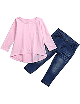 Logobeing Conjuntos Para Niña, Ropa de Bebé Vestido de Manga Larga Camiseta Tops + Pantalones Vaqueros