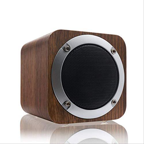 Bluetooth-Lautsprecher Retro Holz Bluetooth-Lautsprecher Kabelloser Subwoofer Stereo-Lautsprecher mit FM-Radio-Zusatz-Tf-Karte MP3-Musik-Player HolzSchwarz Nussbaum