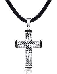 DonDon Herren Halskette Kautschuk 50 cm und Anhänger Kreuz mit schwarzer Verzierung aus Edelstahl in einem Geschenkbeutel