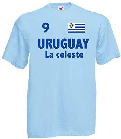 world-of-shirt Herren T-Shirt Uruguay La celeste Trikot Fan Shirt Nr.9|hb-xxxl