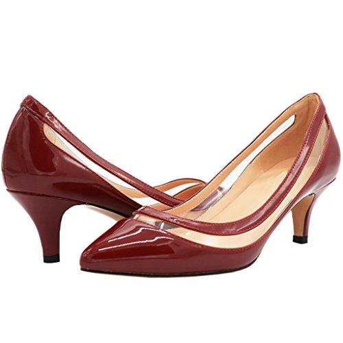 MERUMOTE Damen Spitz Middle Heel Kleid-Partei EU 35-46 Pumps Schuhe Wein Rot-Lackleder