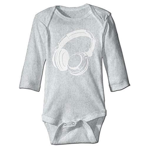 Unisex Newborn Bodysuits Retro Headphones Girls Babysuit Long Sleeve Jumpsuit Sunsuit Outfit Ash