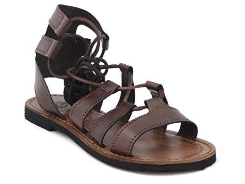 Sandale in braunem Leder, Zehenstegsandale mit Leder-Innensohle und Gummisohle , Sommer-1353 braun