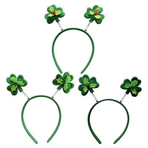 Amosfun Clover Hair Hoop St Patrick's Day Stirnband Green Clover Headpiece für Irish Festival Dekoration 3 Stücke (Patrick Stirnbänder St Day S)