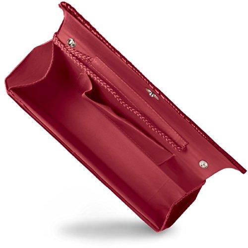 CASPAR Damen Abendtasche / Clutch aus edlem Satin mit Faltendekor - viele Farben - TA297 rot
