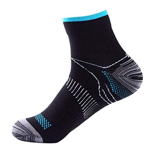 LDA Get Fresh 1 Paia Uomo Fascite Plantare Elastico Compressione Calzini alla Caviglia Gym Sport Running Socks Traspirante-Blu