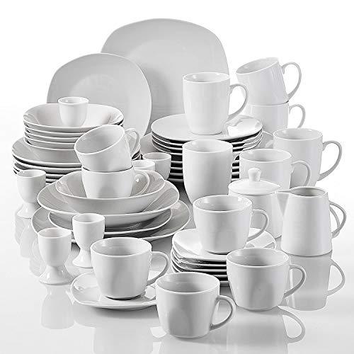 Malacasa, Série ELISA, Lot de 50pcs Service de Table Complet Porcelaine, 6 Assiettes Plates, 6 Assiettes à Dessert, 6 Assiettes Creuses Saladier, 6 Bol à Céréales, 6 Tasses à Thé + 6 Tasses à Café, 6 Sous-tasses, 6 Coquetier, 1 Pot à Lait, 1 Sucrier Céramique Blanc Vaisselles Plat