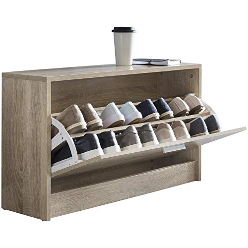 FineBuy Schuhbank CLOEY mit Sitzfläche Sonoma Eiche Schuhkipper Holz 80 x 47 x 24 cm | Flurbank klein geschlossen | Sitzbank schmal Flur mit Stauraum | Schuhschrank einzeln Garderobenbank Bank Flurmöbel