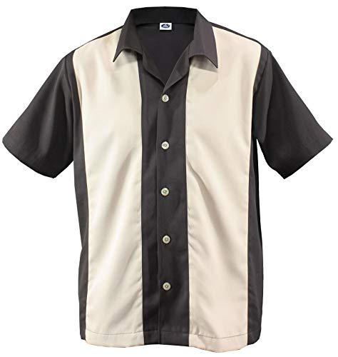 Herren Bowling Shirt Worker Hemd Rockabilly Two Tone Gabardine Lounge Fifties Vintage Retro Double Panel D600 (XXL/XX-Large, Dunkelbraun/Beige)