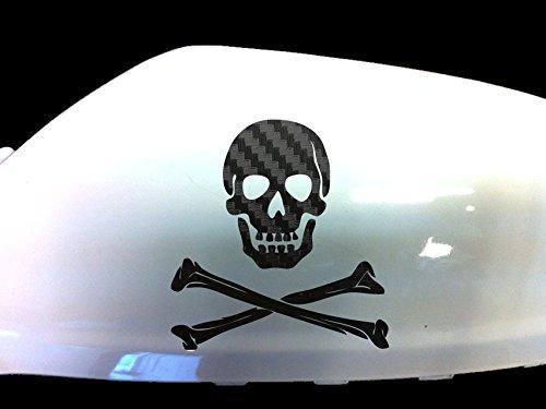 Totenkopf Auto-Aufkleber Außenspiegel Styling Abziehbild (2er-Set) , Schwarz Kohlenstoff