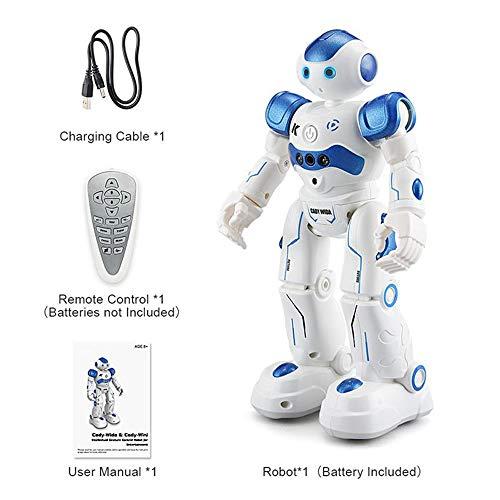 ELVVT 16x8x26,5 cm Intelligente Fernbedienung Programmierung Roboter Spielzeug Humanoiden Mechaniker Singen Tanzen Walking Spielzeug Geburtstag Kinder (Color : Blue) - Walking-spielzeug-roboter