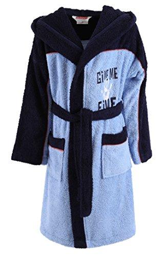 Kinder Bademantel Kinderbademantel mit Kapuze Give me 5 Farbe jeans-blau Größen 128 - 176 Größe 176, 100% Baumwolle