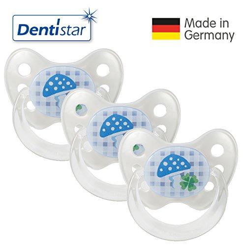 Dentistar® Latex Schnuller 3er Set - Nuckel Größe 1 von Geburt an, 0-6 Monate - Naturkautschuk Beruhigungssauger für Babys - Pilz, blau