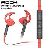 Zoiibuy ROCK in-ear Ohrhörer Stereo Mikrofon Ohrbügel Kabelgebundene Headset für Running für Handys iPhone Samsung Huawei Rot