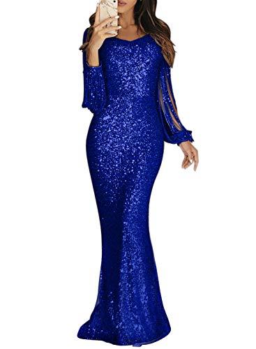 Dokotoo Damen Abendkleider Langarm Lang Kleider Pailletten Elegant Cocktailkleider Party Blau XL (EU48-EU50) -