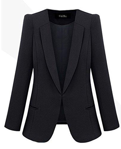 BELLA-Giacca Slim Donna di Poliestere Giacca OL Abbigliamento Donna Nero Petto 88cm