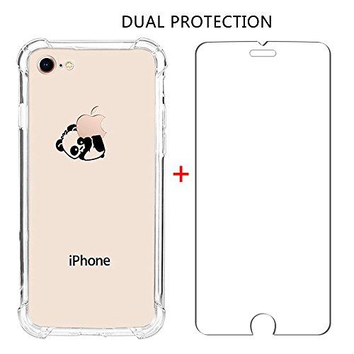 iPhone 8custodia, assorbimento degli urti Ucmda trasparente in silicone TPU paraurti copertura con [schermo in vetro temperato] trasparente copertura protettiva per iPhone 8- trasparente Panda iPhon Panda